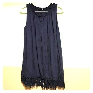 Navy swing top with fringe